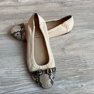AGL attilio giusti snake skin capped toe ballet